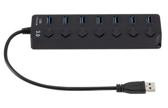 7 Port USB 3.0 Hub 5Gbps High Speed On/Off Switches AC Power Adapter for PC